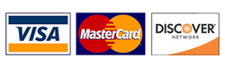 Visa, Mastercard and Discover Accepted