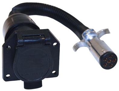 (TC1067P) 6-Pin Round to 7-Pin Flat RV Adapter