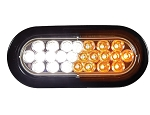 (SL66AC) Amber/Clear 6 Inch Oval Recessed LED Strobe Light with Quad Flash